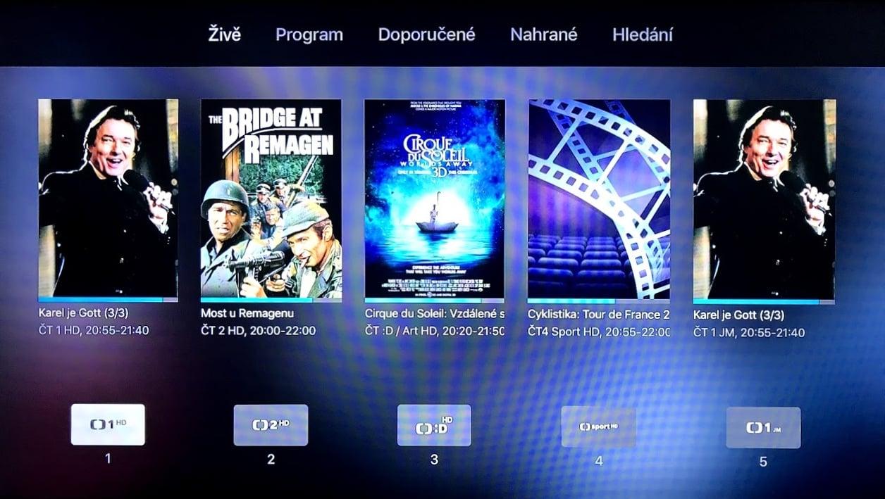Úvodní menu Digi TV na Apple TV