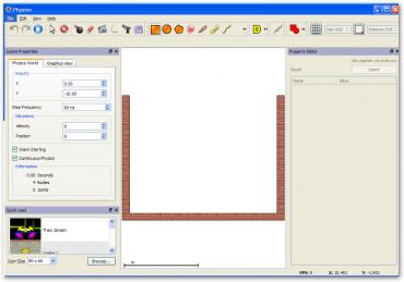 Okno aplikace s panelem Scene Properties a Property Editor.