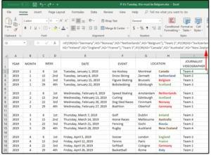 Vzorce pro určení týmů, které se budou účastnit jednotlivých sportovních událostí.