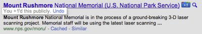 Když je tlačítko Google+1 ve výsledích hledání stisknuto, zobrazí se probarveně.