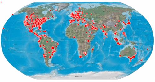 Geografické zastoupení tweetů o bin Ladinově smrti dne 2.5.2011