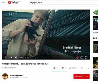 Nejlepší přítel - plná verze pohádky na Youtube s datumem 25. 12. 2017.