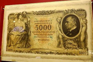Originál návrhu 5000 Kč bankovky od Maxe Švabinského s portrétem Antonína Švehly. Z politických důvodů nebyla bankovka nikdy zařazena do oběhu.