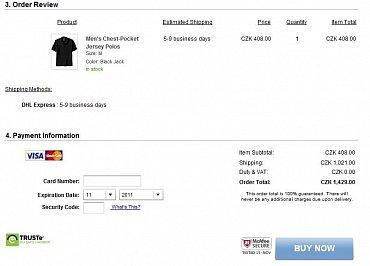 Společnost GAP posílá ze svého e-shopu do Česka jen výrobky některých značek (např. Old Navy). Tričko s límečkem za čtyři stovky nezní špatně, tisícovku za poštovné by ale dal snad jen blázen. Vyplatilo by se pouze pokud by zákazník nakupoval více věcí najednou.