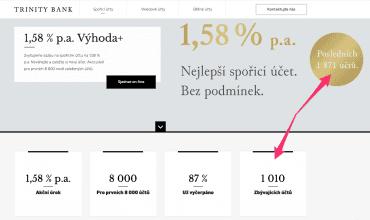 Na webu banky se informace o počtu zbývajících účtů různí.