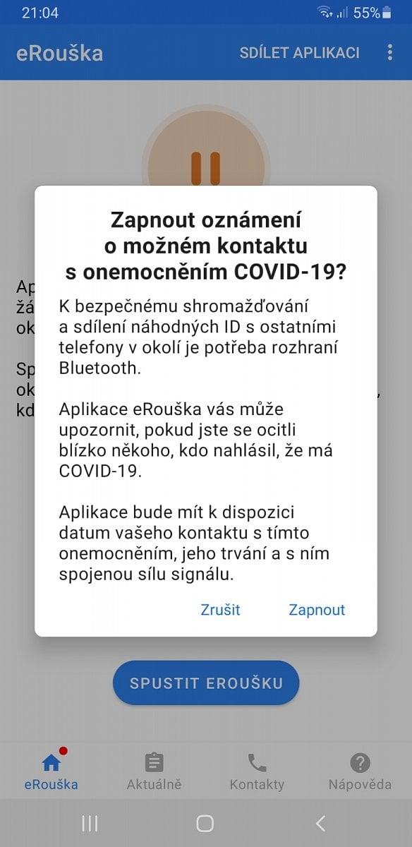 eRouška 2.0 - mobilní aplikace - Android