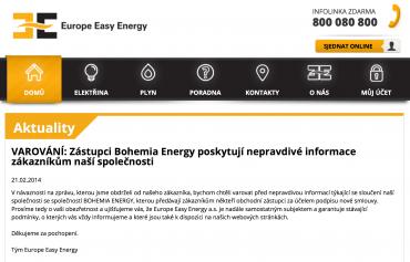Europe Easy Energy varuje před společností Bohemia Energy Entity.