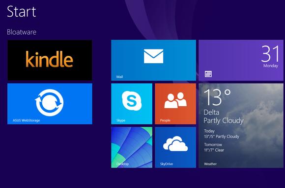 Bloatware v podobě aplikace pro nové rozhraní modern UI ve Windows 8 je rovněž nechtěný, nicméně ve srovnání s bloatwarem určeným pro pracovní plochu není tak otravný.