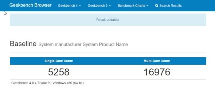 Výsledky benchmarku z programu Geekbench