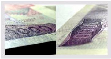 Skrytý obrazec s nominální hodnotou.
