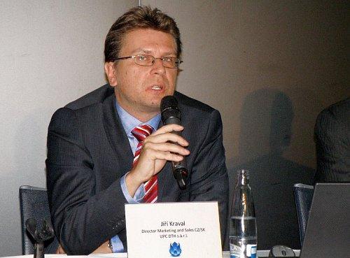 Regionální manažer UPC DTH pro Českou republiku a Slovensko Jiří Kraval na tiskové konferenci freeSATu na podzim roku 2011.