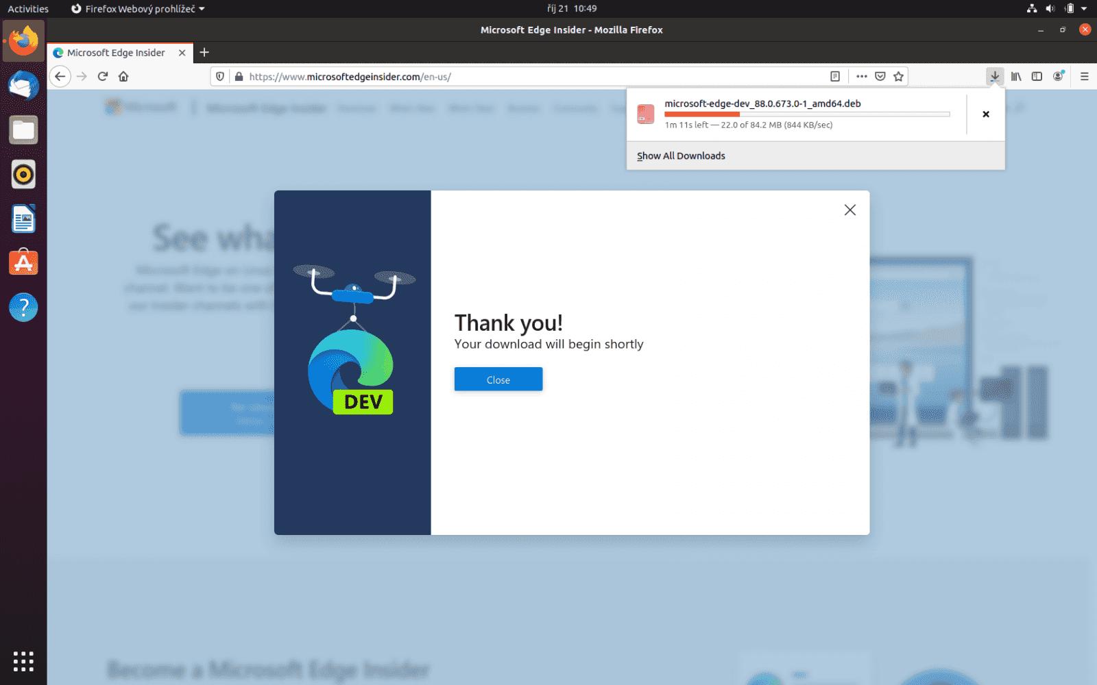 Microsoft Edge preview v Ubuntu