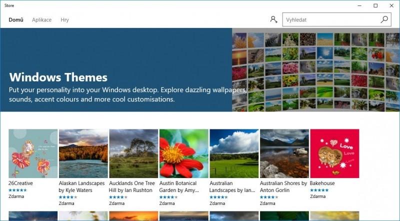Část Windows Storu věnovaná motivům pro Windows 10