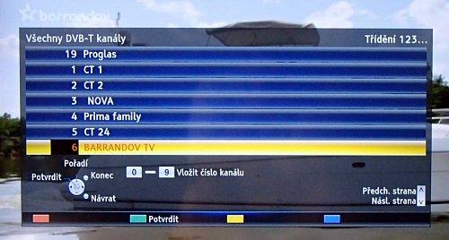Třídění naladěných kanálů je snadné a kéž by to tak šlo i u satelitního DVB-S. Stačí totiž jen najet na kanál, zmáčknout tlačítko a zadat pořadové číslo na kterém ho v seznamu naladěných kanálů chcete mít. Brnkačka!
