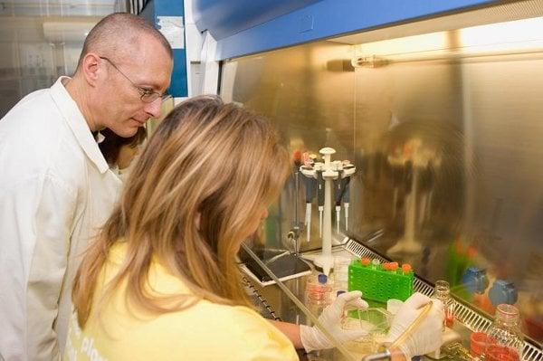 Děkan 1. LF UK Aleksi Šedo v Laboratoři biologie nádorové buňky