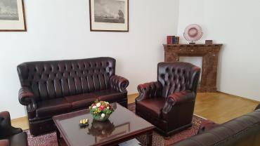 Zasedací místnost, kde se projednávají záležitosti s klienty Privátního bankovnictví.