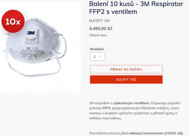 Je libo respirátor neúčinný na viry za 449,50 Kč/kus? Firma Drivelab s.r.o. jej prodává v balení po 10 ks za předraženou cenu. (5. 3. 2020)