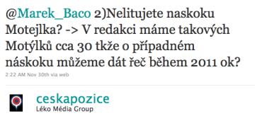 Česká pozice na Twitteru k Motejlek.com