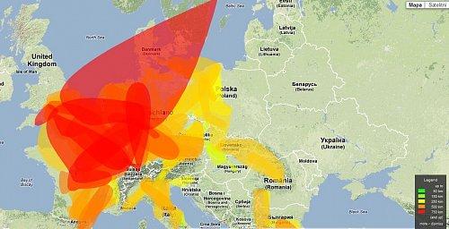 Aktuální situace šíření VHF signálu nad Evropou. Červená barva ukazuje příjem 750 km a vyšší.