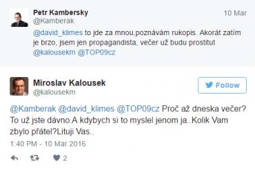Miroslav Kalousek na Twitteru v tom má jasno. A má vlastně ještě Kamberák nějaký ty přátele?