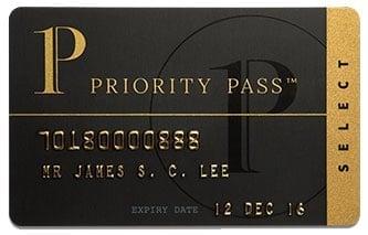 Příklad karty Priority Pass.