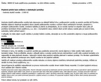 Ukázka z dopisu pojišťovny viníka nehody, jaký bude další průběh řešení škody směrem k poškozenému. (07/2018)