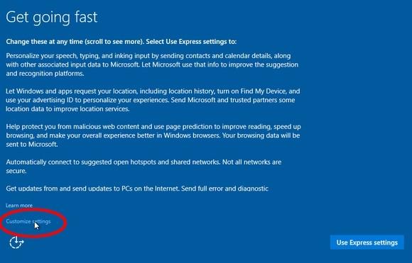 Expresní nastavení Windows 10
