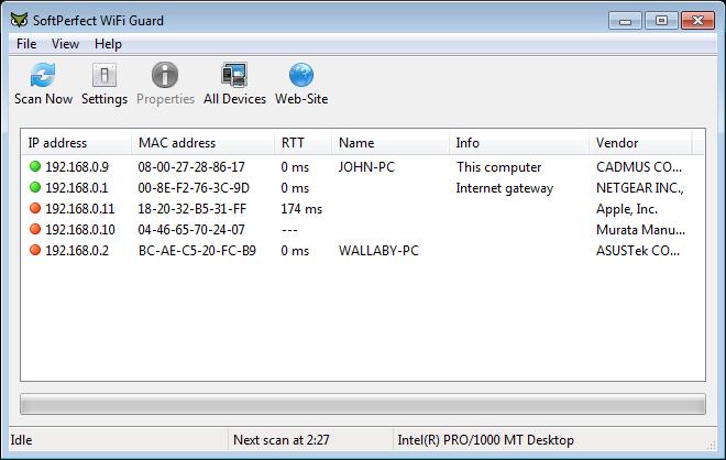 SoftPerfect Wifi Guard odhalí všechna zařízení ve vaší síti