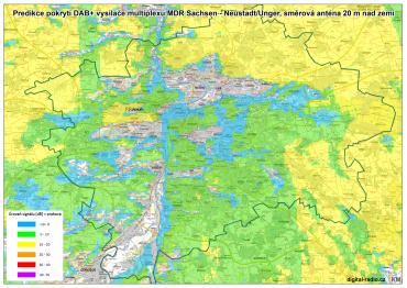Predikce pokrytí DAB+ vysílače multiplexu MDR Sachsen - Neustadt/Unger, směrová anténa 20 metrů nad zemí