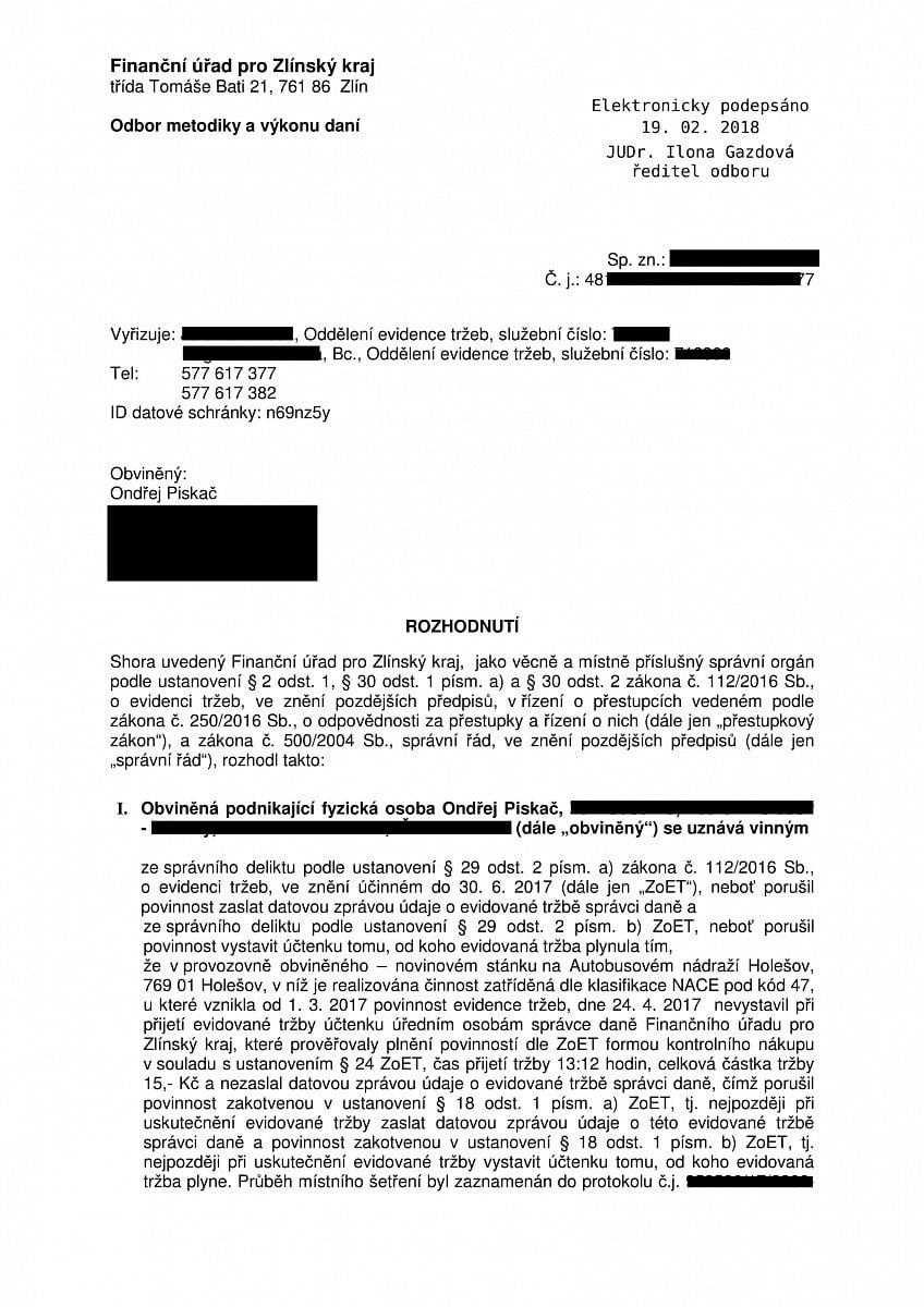 Protokol o kontrole EET