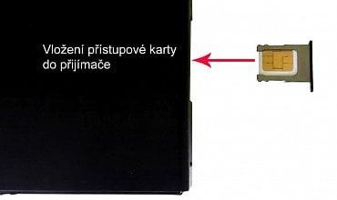 Přístupová karta mikro SIM a její vložení do satelitního hybridního přijímače na pravém boku.