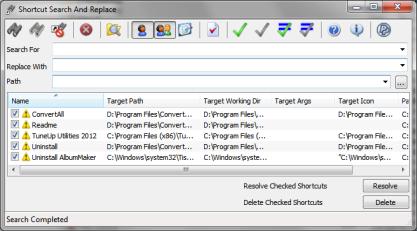 Shortcut Search and Replace najde neplatné zástupce v systému