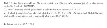 Podmínky Raiffeisenbank pro akci iPhone 5S (24. 6. 2015)