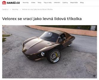 Garáž.cz na apríla oznamuje návrat Velorexu.