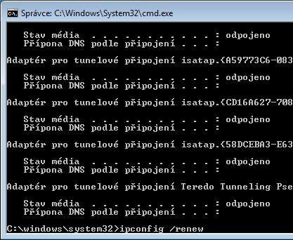 Reset IP adresy počítače pomocí nástroje ipconfig zajistí přidělení nové IP adresy a obnovení připojení k síti.
