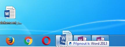 Připnutí libovolného souboru k seznamu souborů k aplikaci na Hlavním panelu