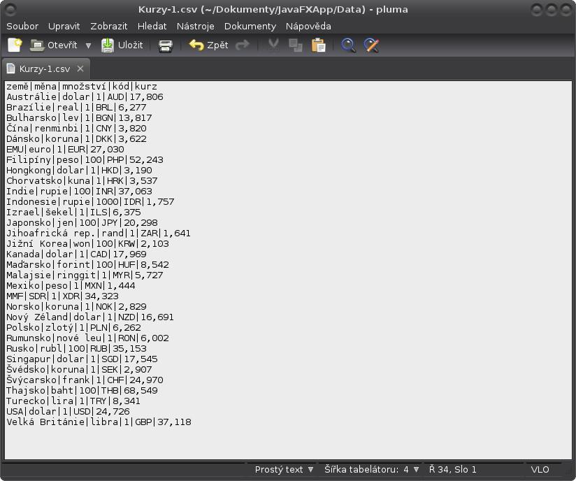 JavaFX: příprava CSV souborů