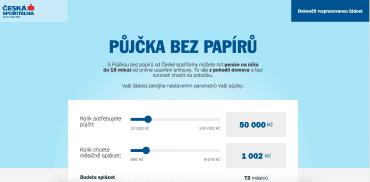 Ukázka webového rozhraní sjednání Půjčky bez papírů od České spořitelny