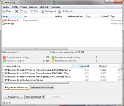 WinContig zvládá defragmantci vybraných souborů a složek
