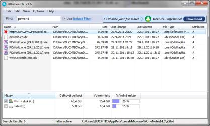 UltraSearch najde na NFTS disku soubory okamžitě