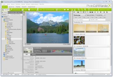 Grafické rozhraní programu při výchozím rozvržení