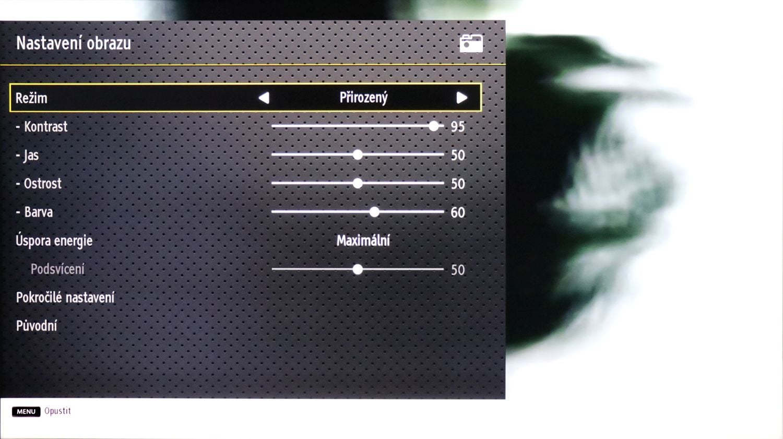 JVC LT55VUA - menu nastavení