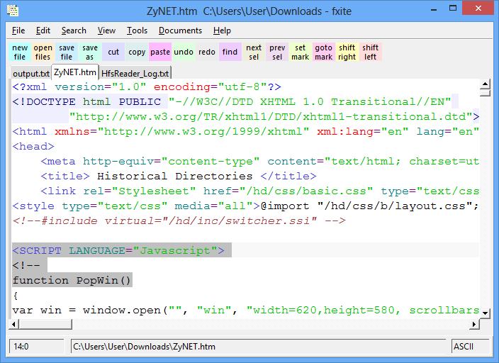 FXiTe: textový editor pro vývojáře