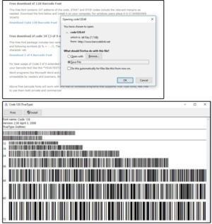 Stáhněte si fonty pro čárové kódy typu Code128 a Code 39