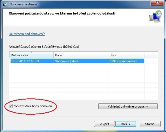 Funkce Obnovení systému ve Windows 7