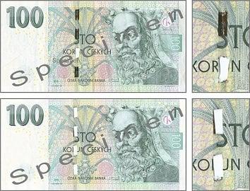 Pravé bankovky 100 Kč s částečně a zcela odstraněným ochranným proužkem