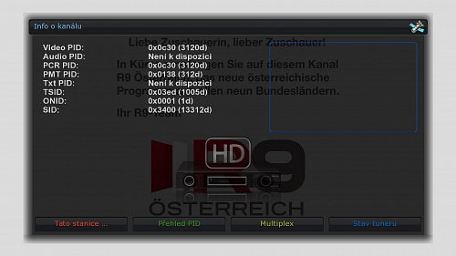 Technické parametry chystaného kanálu R9 Oesterreich HD