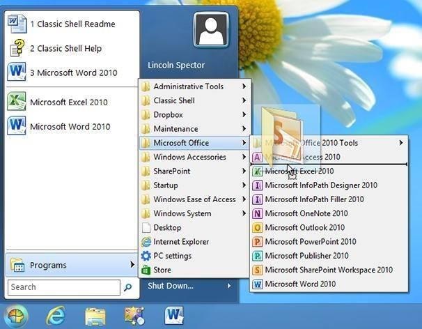 Technika Drag&drop v nabídce Start Windows 8