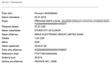 Příklad SEPA platby zaslané do Citibank Europe jako zahraniční platba z České republiky. Odlišný příjemce účtu od zadaného není podstatný, platba se připíše.