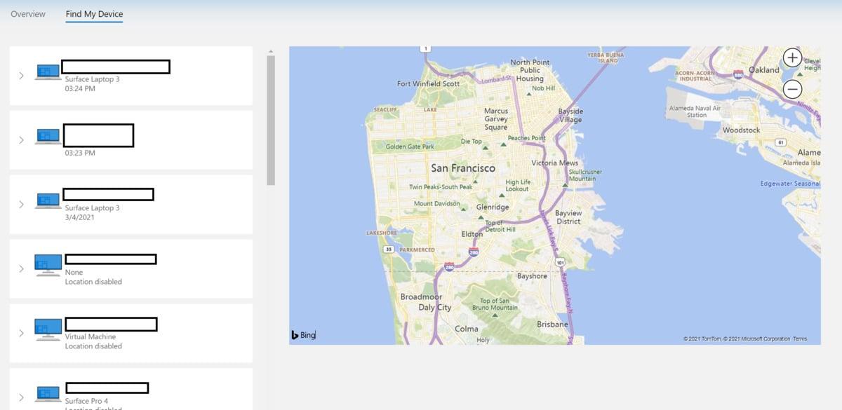 Služba Najít moje zařízení zobrazí umístění počítače v mapě.